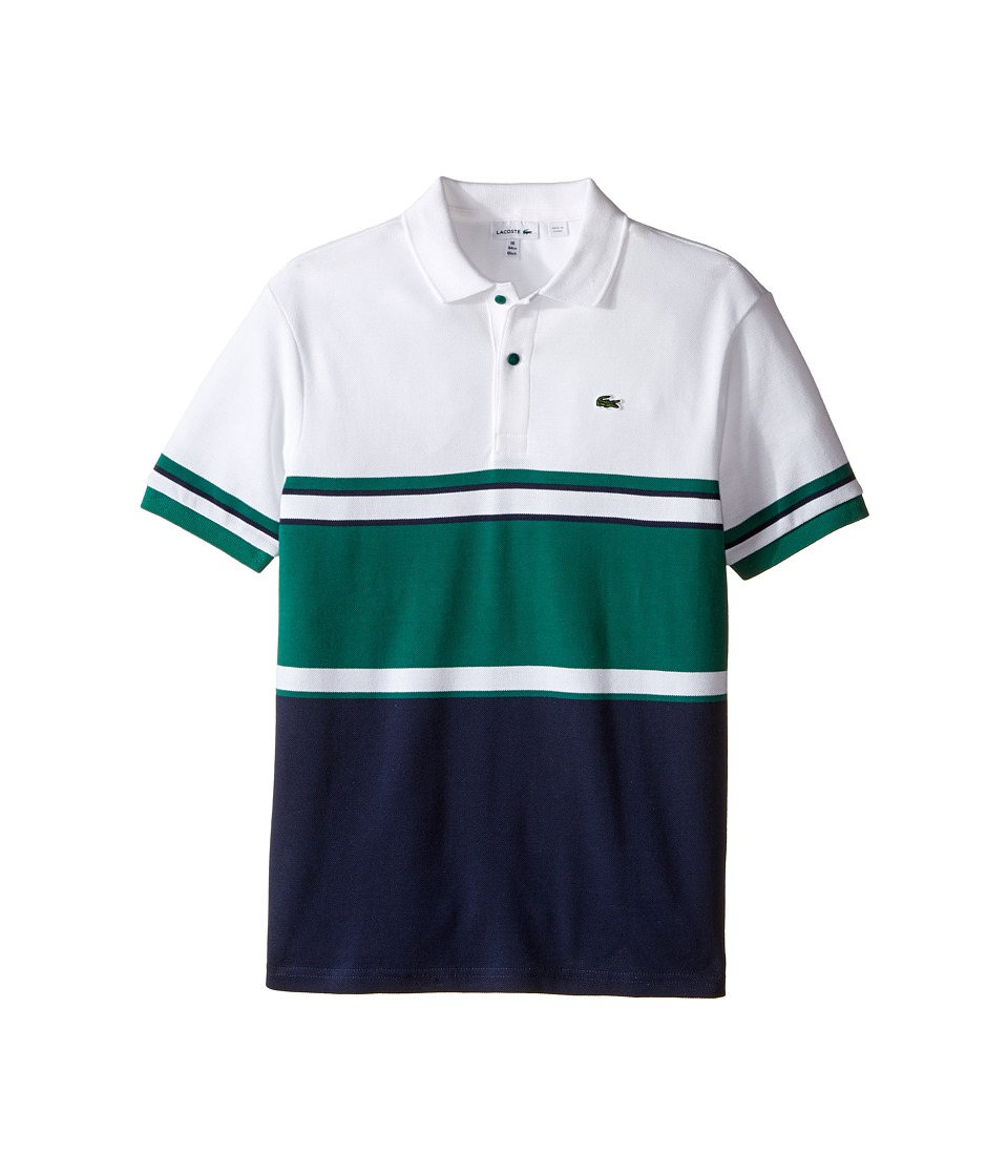 Lacoste Kids - Short Sleeve Bold Striped Polo (Toddler/Little Kids/Big Kids) (Navy Blue/Bottle Green/White) Boy's Short Sleeve Pullover