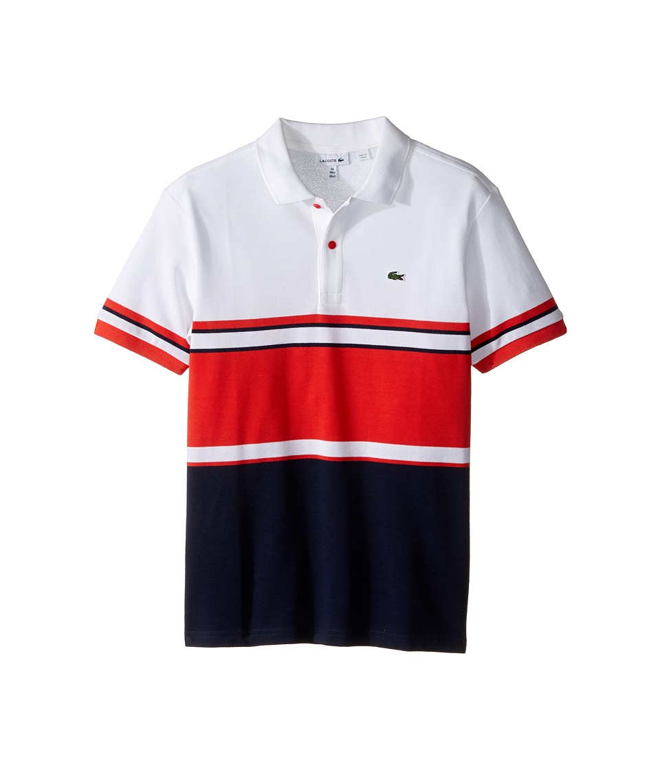 Lacoste Kids - Short Sleeve Bold Striped Polo (Toddler/Little Kids/Big Kids) (Navy Blue/Fusion White) Boy's Short Sleeve Pullover