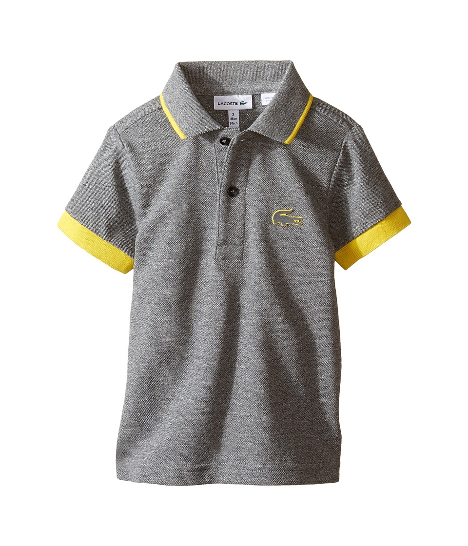 Lacoste Kids - Short Sleeve Rubber Croc Polo (Infant/Toddler/Little Kids/Big Kids) (Light Grey Jaspe/Curry) Boy's Short Sleeve Pullover
