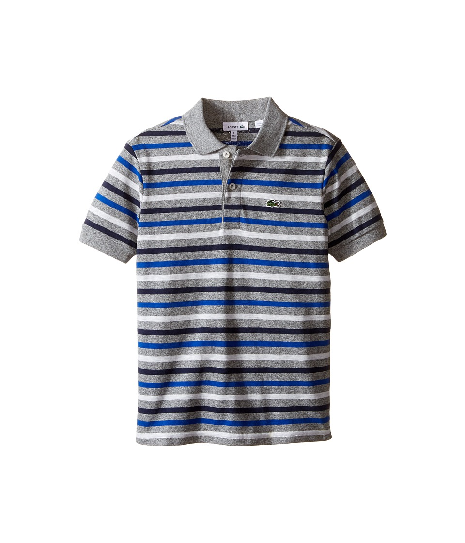 Lacoste Kids - Short Sleeve Multi Stripe Mini Pique Polo (Infant/Toddler/Little Kids/Big Kids) (Dust Chine/Light Grey Jaspe) Boy's Short Sleeve Pullover