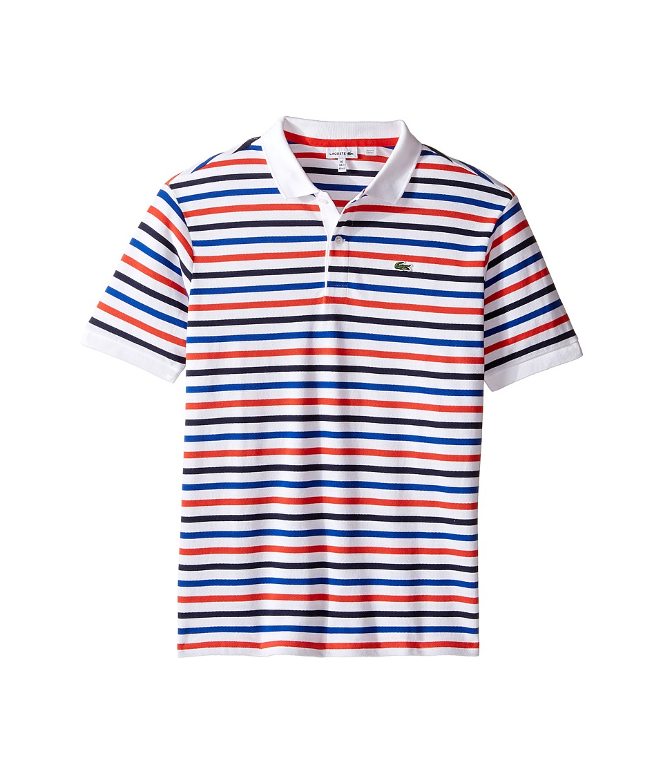 Lacoste Kids - Short Sleeve Multi Stripe Mini Pique Polo (Infant/Toddler/Little Kids/Big Kids) (Fusion/White Corvette/Navy) Boy's Short Sleeve Pullover
