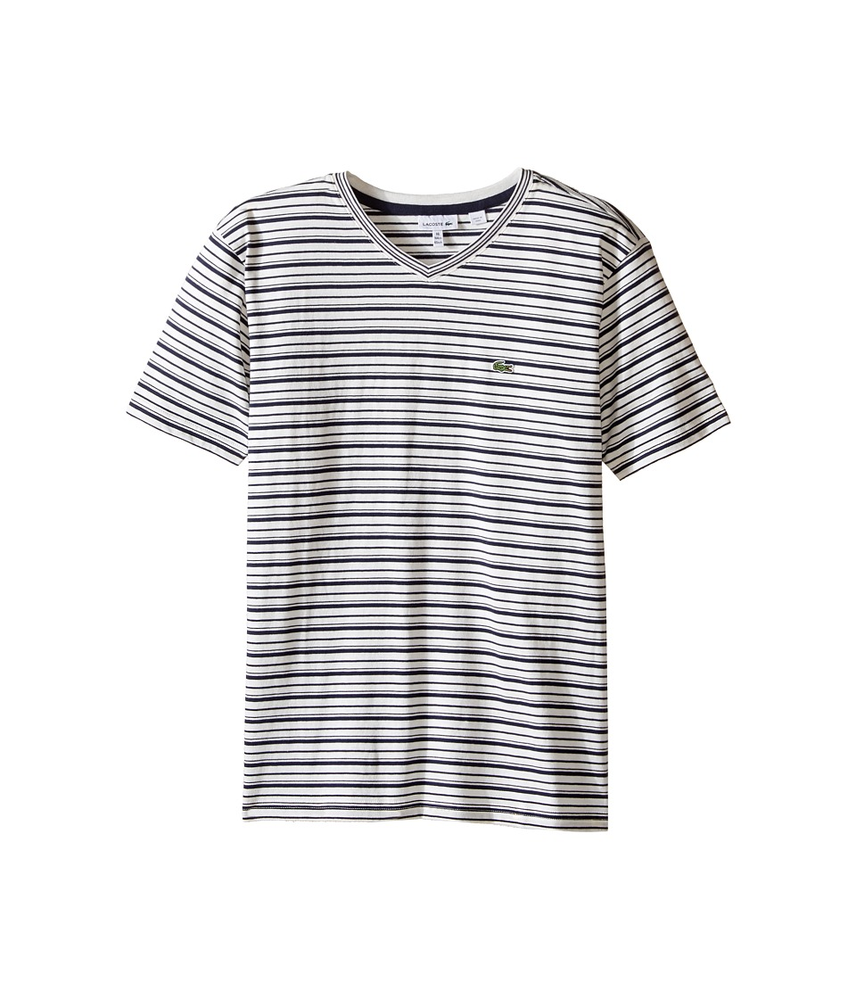 Lacoste Kids - Short Sleeve V-Neck Striped Tee Shirt (Toddler/Little Kids/Big Kids) (Flour/Navy Blue) Boy's T Shirt