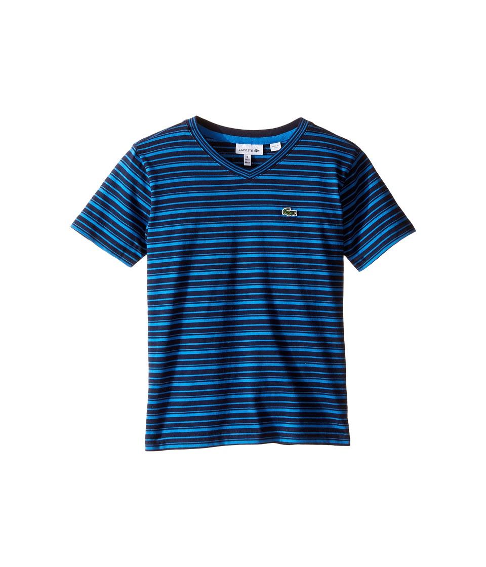 Lacoste Kids - Short Sleeve V-Neck Striped Tee Shirt (Toddler/Little Kids/Big Kids) (Navy Blue/West Indies) Boy's T Shirt