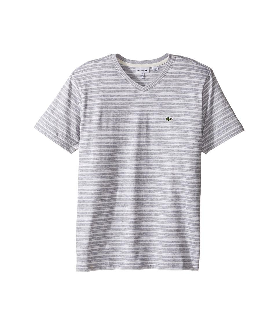Lacoste Kids Short Sleeve V-Neck Striped Tee Shirt (Toddler/Little Kids/Big Kids) (Silver Chine/Flour 1) Boy