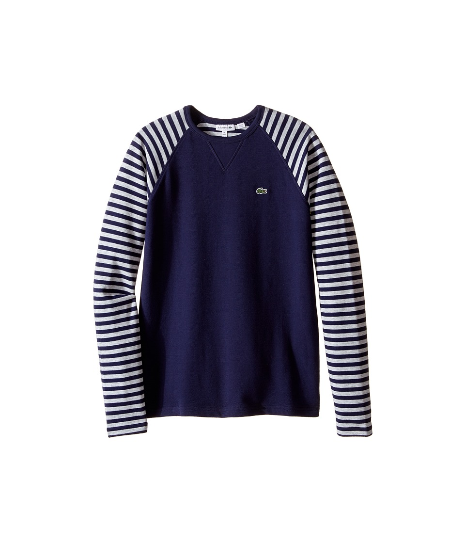 Lacoste Kids - Long Sleeve Striped Raglan Pique Tee Shirt (Toddler/Little Kids/Big Kids) (Aquatic/Dust Chine) Boy's T Shirt