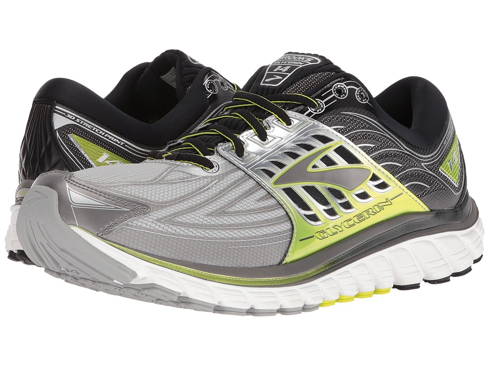 Brooks - Glycerin 14 (Silver/Black/Lime Punch) Men's Running Shoes