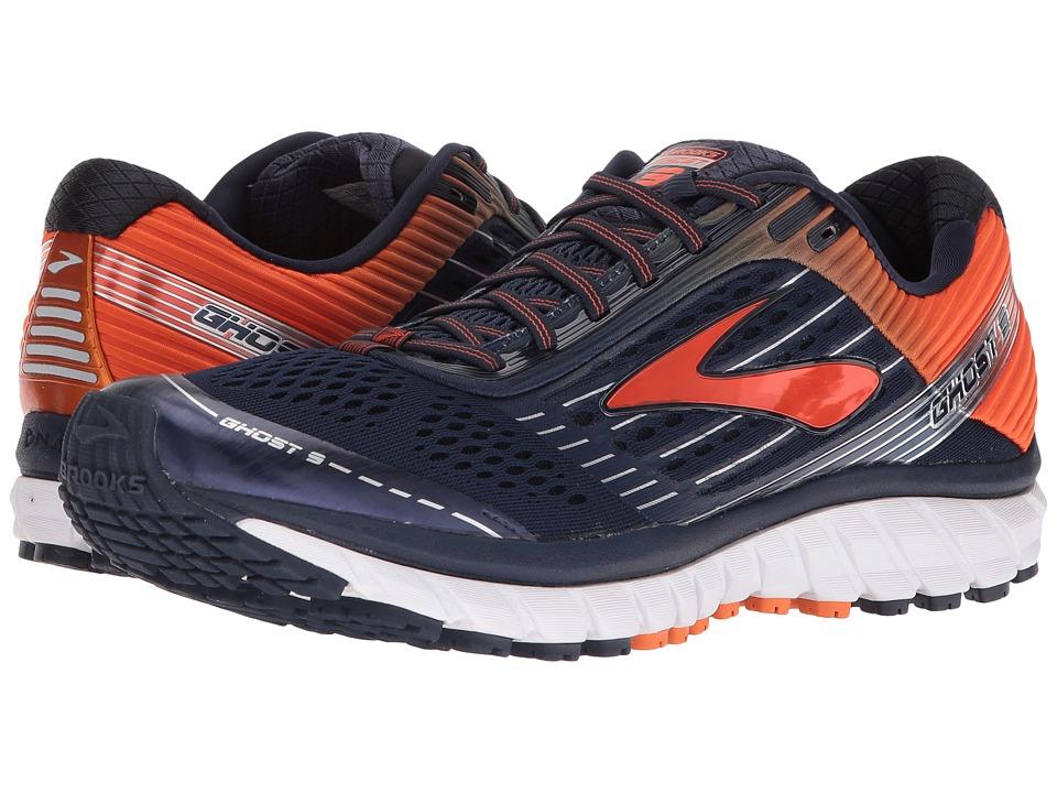 Brooks - Ghost 9 (Peacoat/Red Orange/Black) Men's Running Shoes