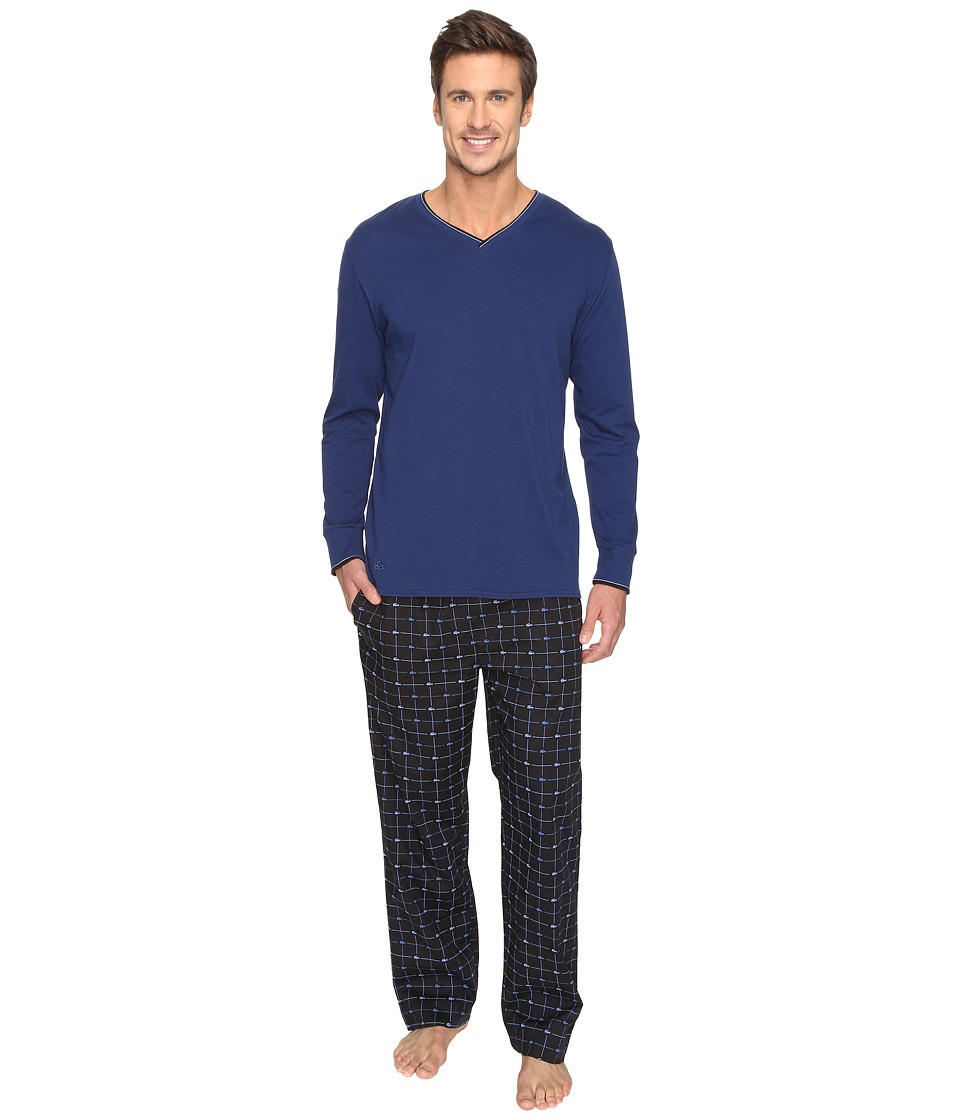 Lacoste - Long Sleeve Signature Pants Gift Set (Blue Depths) Men's Pajama Sets