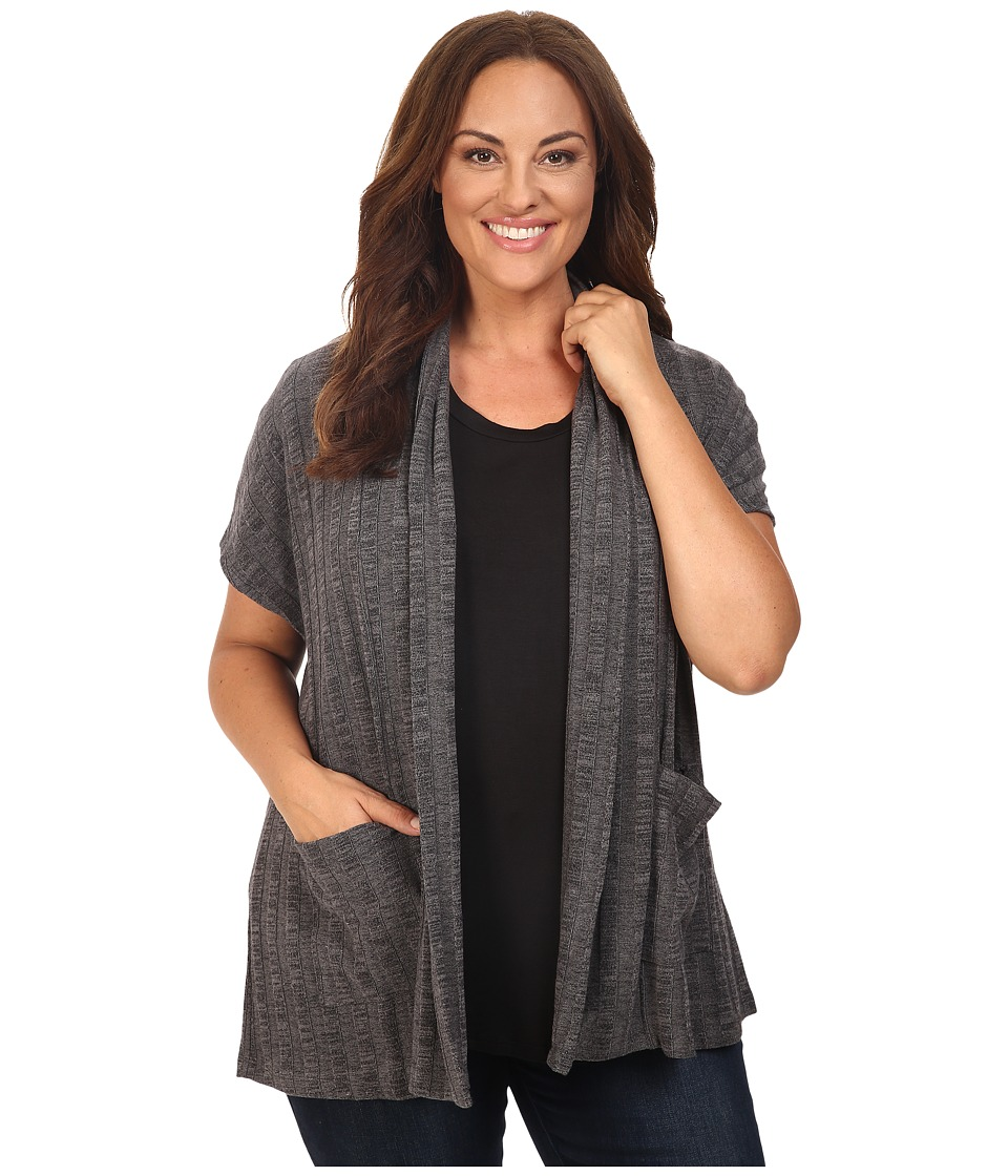 B Collection by Bobeau Curvy - Plus Size Larken Ribbed Knit Cardigan (Charcoal Grey) Women's Sweater