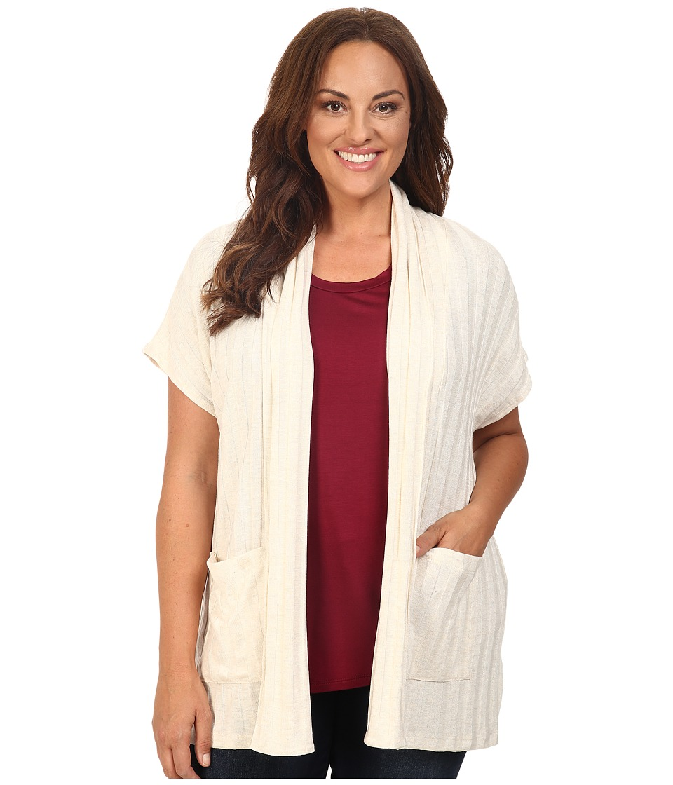 B Collection by Bobeau Curvy - Plus Size Larken Ribbed Knit Cardigan (Natural) Women's Sweater