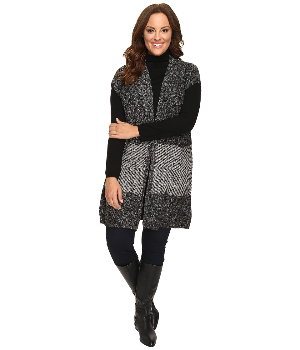 B Collection by Bobeau Curvy - Plus Size Kori Oversized Sweater Vest (Charcoal Grey) Women's Vest