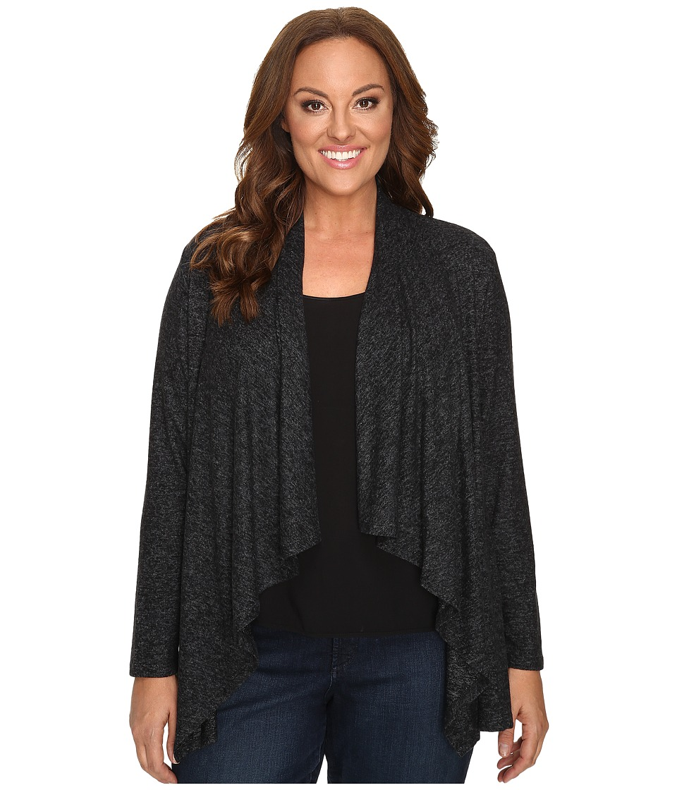 B Collection by Bobeau Curvy - Plus Size Amie Waterfall Cardigan (Charcoal Grey) Women's Sweater