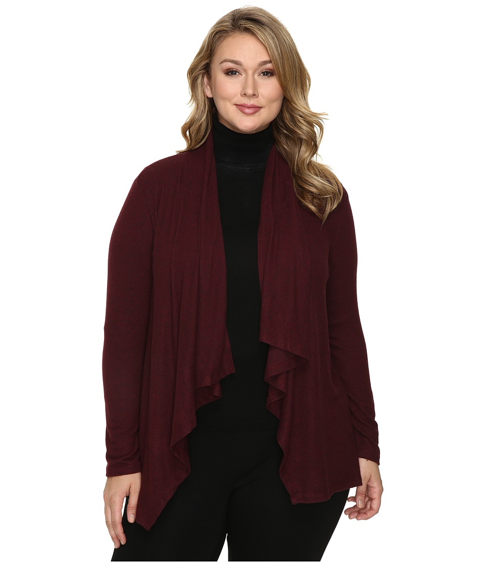 B Collection by Bobeau Curvy - Plus Size Amie Waterfall Cardigan (Burgundy) Women's Sweater