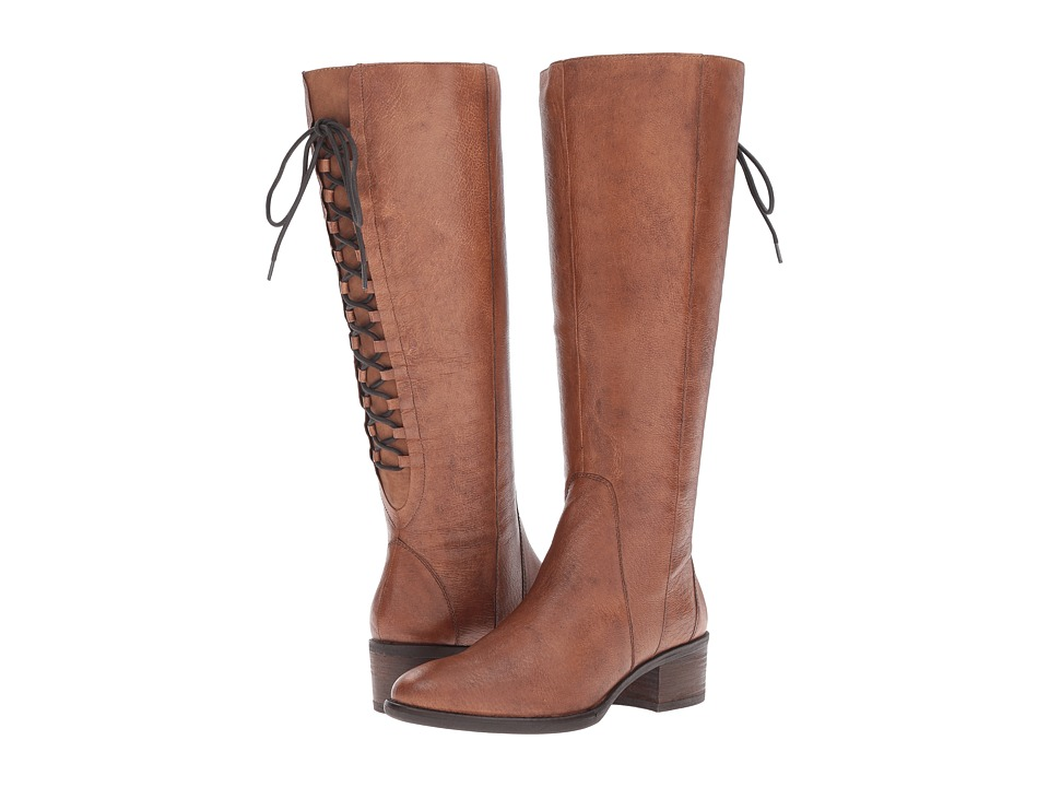 Steve Madden Laceup Wide Cognac Leather Boots