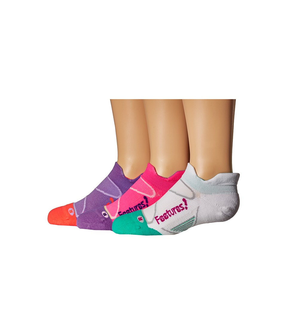Feetures - Elite Light Cushion No Show Tab 3-Pair Pack (White/Berry/Pink Pop/Iris/Viola/Lava) No Show Socks Shoes