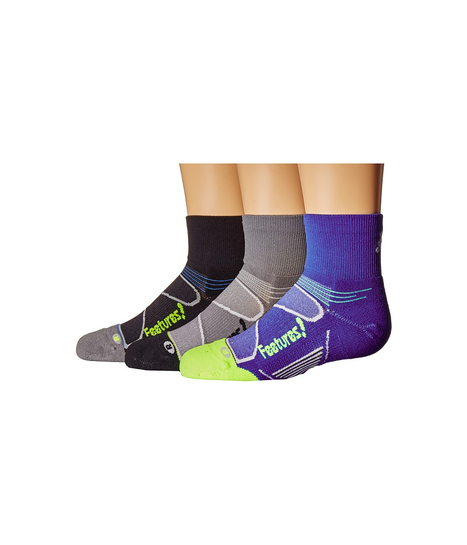 Feetures - Elite Light Cushion Quarter 3-Pair Pack (Black/Reflector/Dazzling Blue/Citron/Graphite/Black) Quarter Length Socks Shoes
