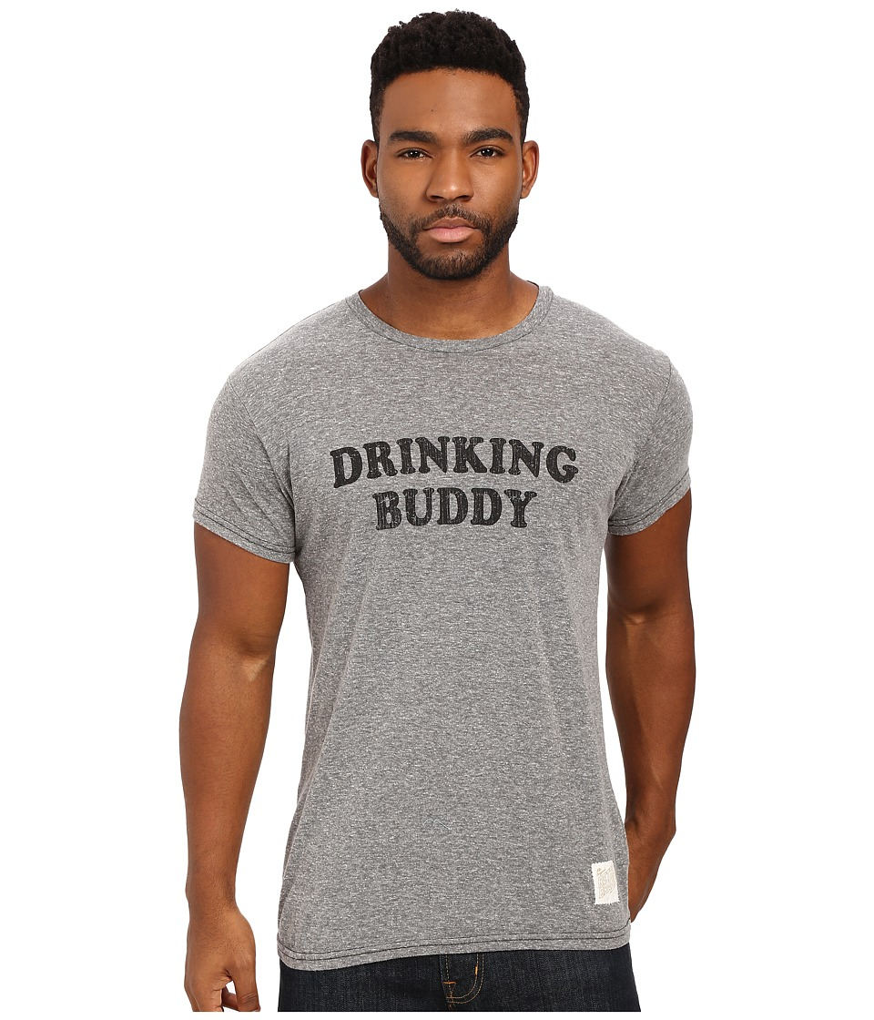 The Original Retro Brand - Drinking Buddy Short Sleeve Tri-Blend Tee (Streaky Grey) Men's T Shirt