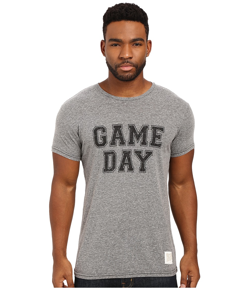 The Original Retro Brand - Game Day Short Sleeve Tri-Blend Tee (Streaky Grey) Men's T Shirt