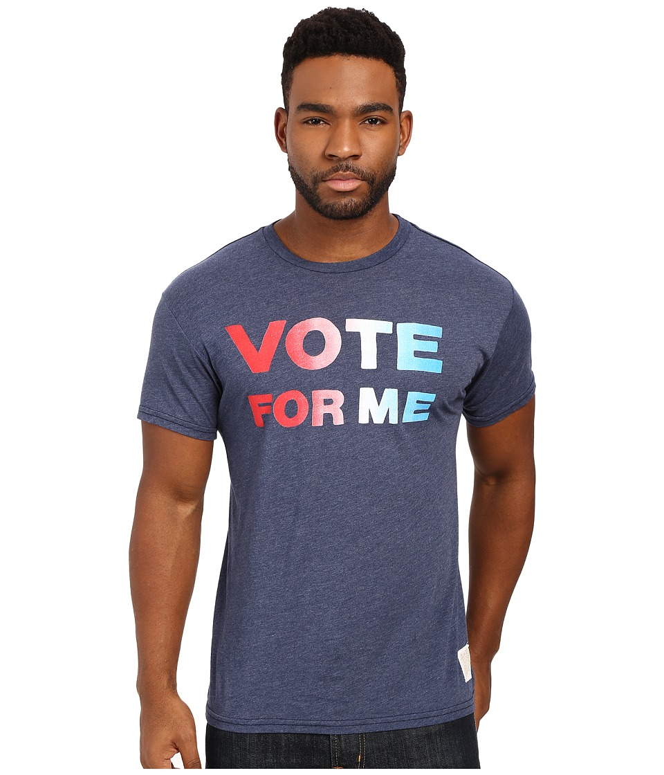 The Original Retro Brand - Vote For Me Short Sleeve Heather Tee (Heather Navy) Men's T Shirt