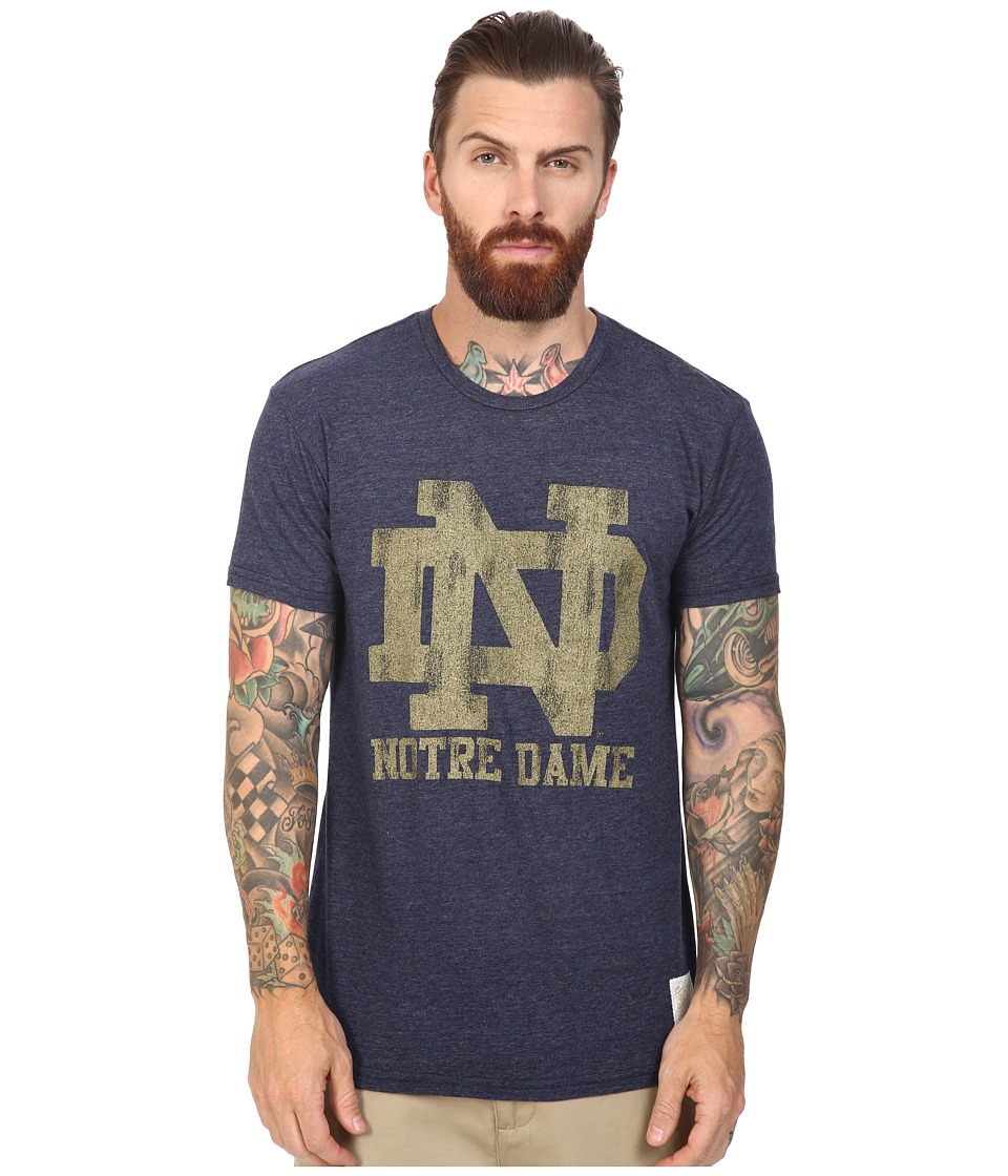 The Original Retro Brand - Notre Dame Short Sleeve Tri-Blend Tee (Streaky Navy) Men's T Shirt