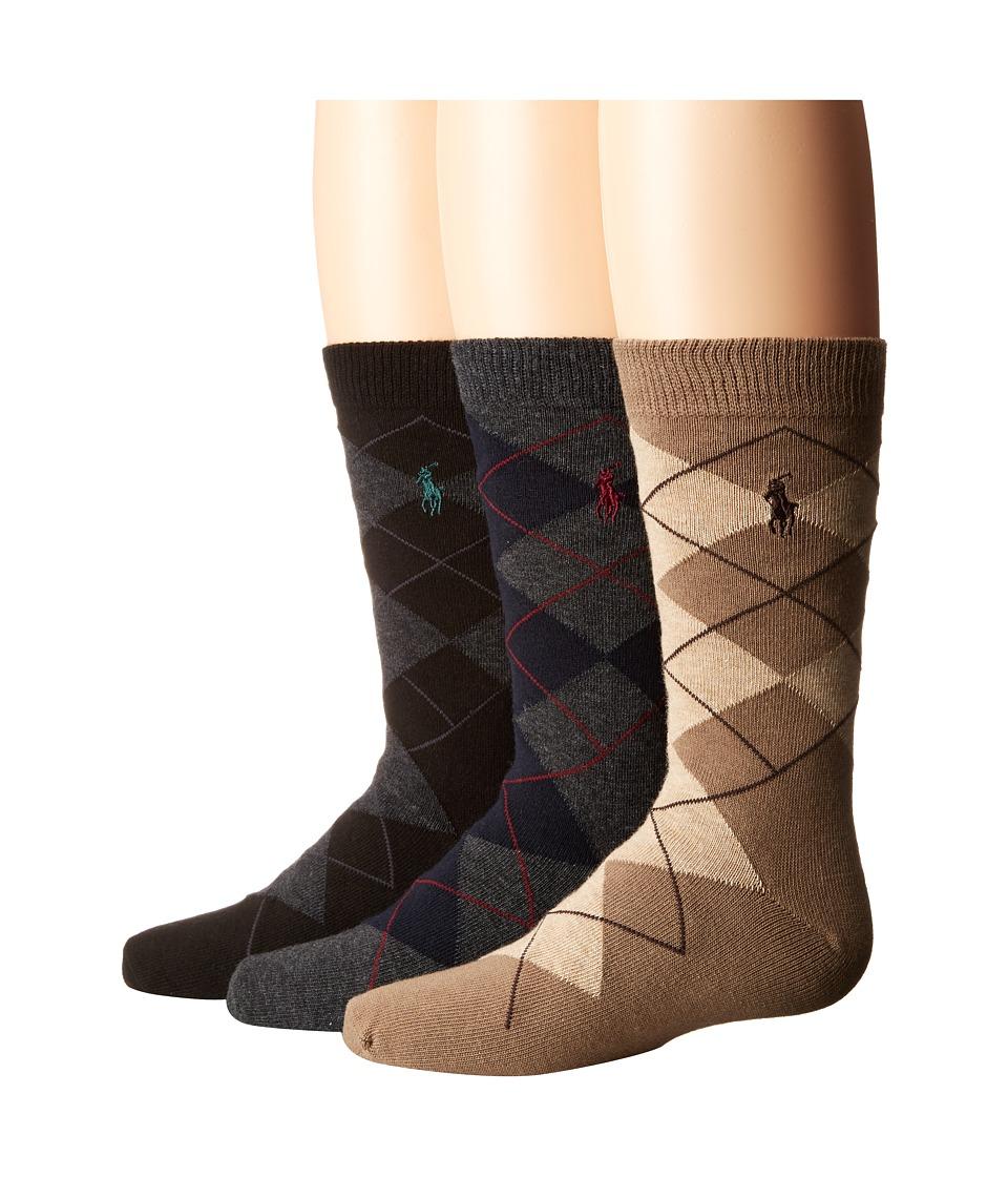 Polo Ralph Lauren - Argyle Slack 3-Pack (Toddler/Little Kid) (Multi) Men's Crew Cut Socks Shoes