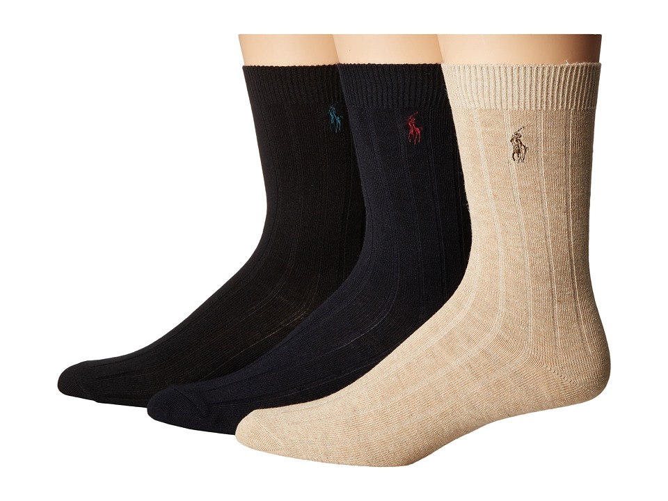 Polo Ralph Lauren - Dress Rib Slack 3-Pack (Toddler/Little Kid) (Assorted Solids) Men's Crew Cut Socks Shoes