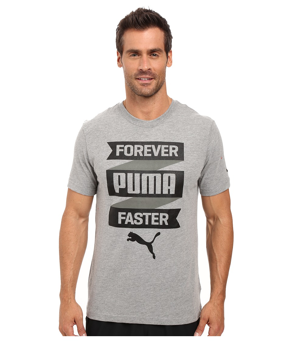 PUMA - Forever Fast Banner Tee (Medium Gray Heather) Men's T Shirt