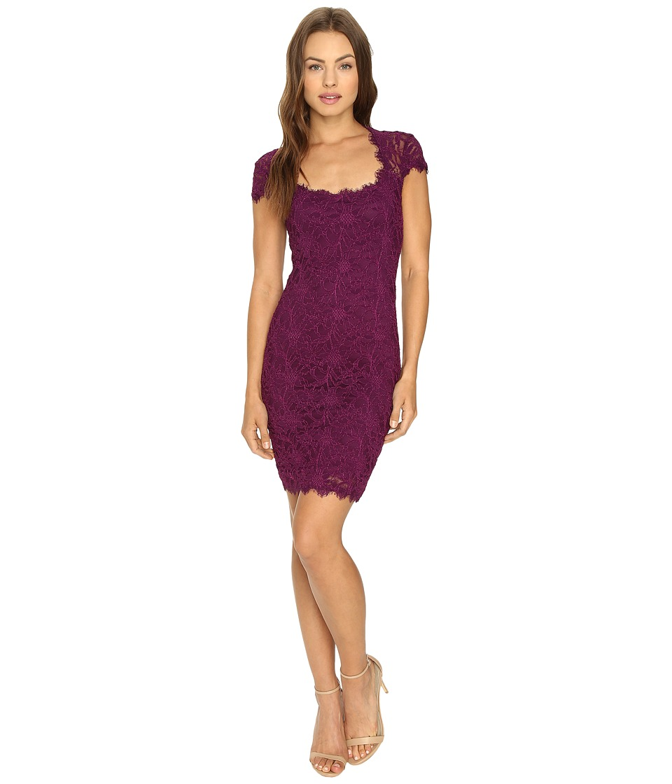 rsvp Peak Cap Sleeve Short Lace Dress (Raisin) Women