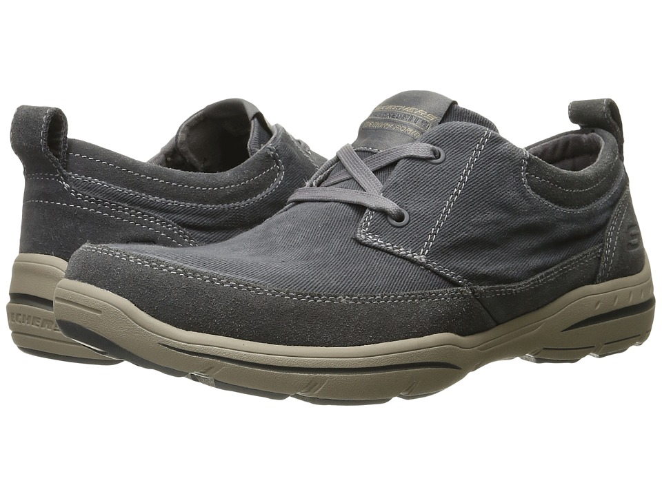 SKECHERS Relaxed Fit Harper Lenden (Gray Suede/Canvas) Men