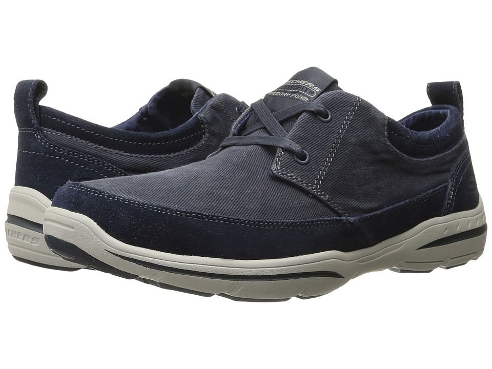 SKECHERS - Relaxed Fit Harper - Lenden (Navy Suede/Canvas) Men's Shoes