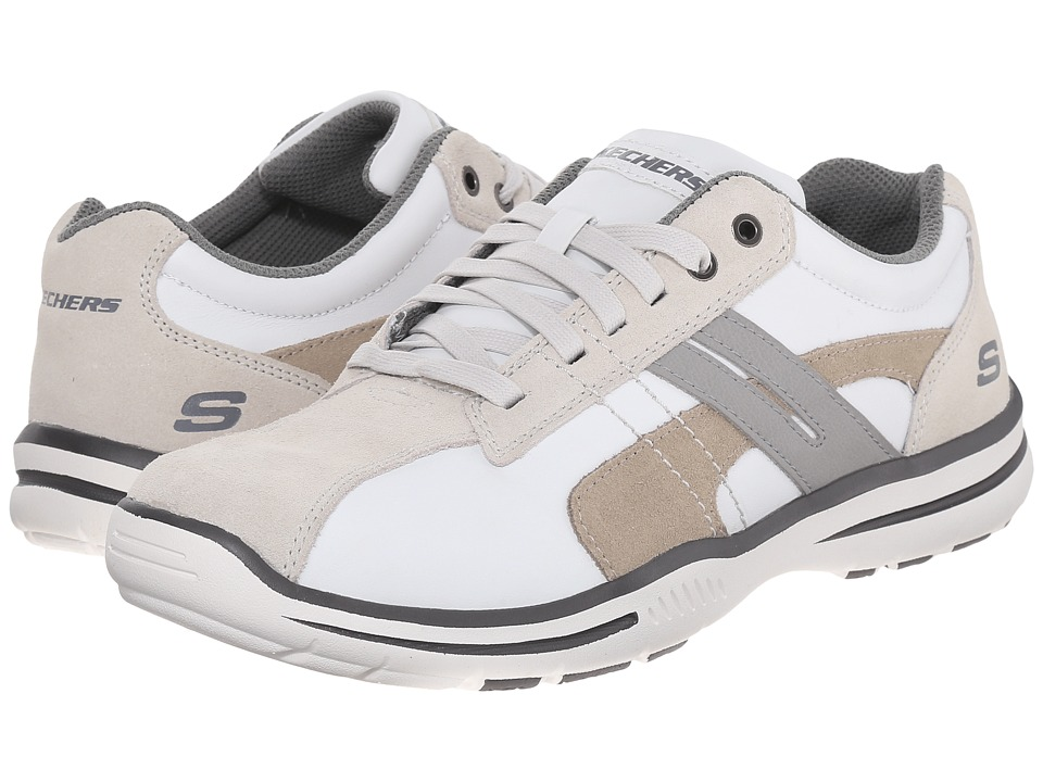 SKECHERS - Relaxed Fit Elected - Gavino (White Leather) Men's Lace up casual Shoes