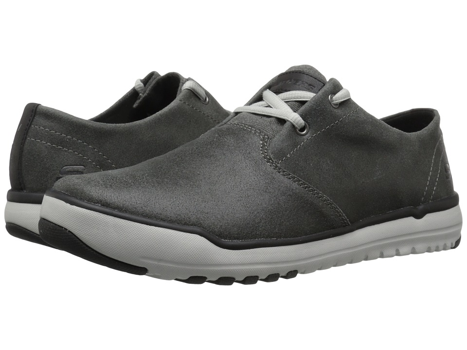SKECHERS Relaxed Fit Oldis Volaro (Charcoal Leather) Men