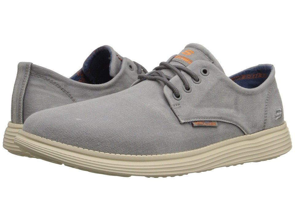 SKECHERS - Relaxed Fit Status - Borges (Light Gray) Men's Lace up casual Shoes