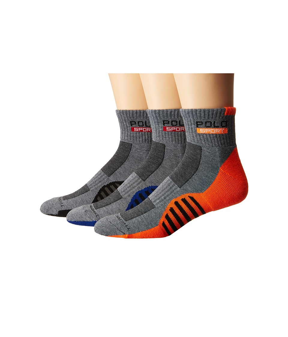 Polo Ralph Lauren - 3-pack Racing Stripe Sole Contrast 1/4 Socks (Sweatshirt Grey Heather) Men's Quarter Length Socks Shoes