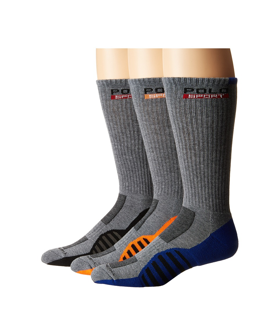 Polo Ralph Lauren - 3-pack Racing Stripe Sole Contrast Crew Socks (Sweatshirt Grey Heather) Men's Crew Cut Socks Shoes