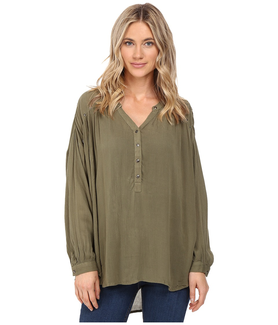 Amuse Society Sage Woven Top (Army) Women