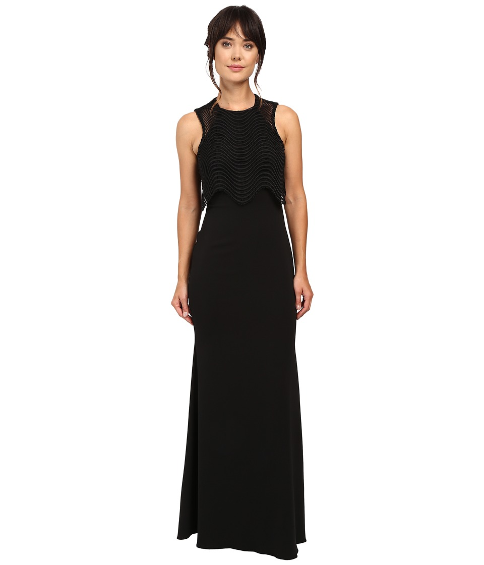 Badgley Mischka - Wave Lace Popover Gown (Black) Women's Dress