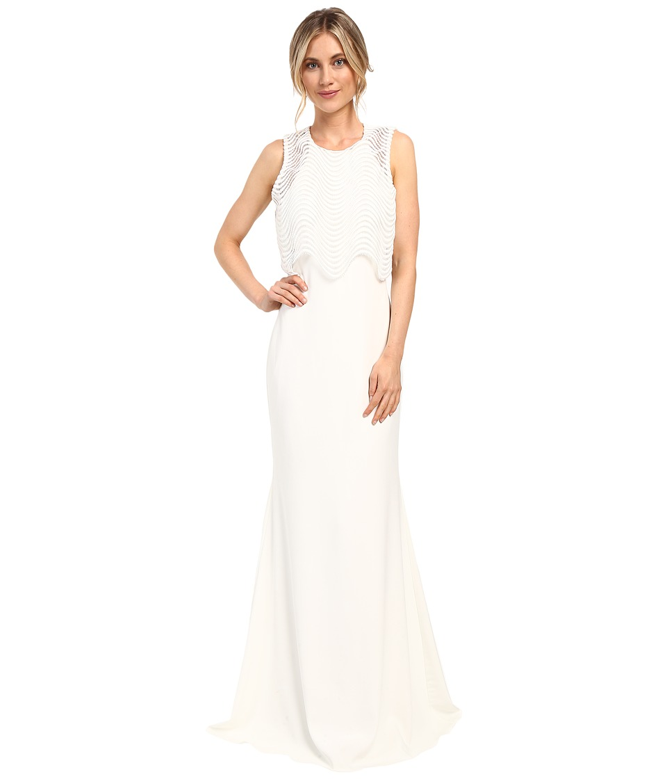 Badgley Mischka - Wave Lace Popover Gown (Ivory) Women's Dress