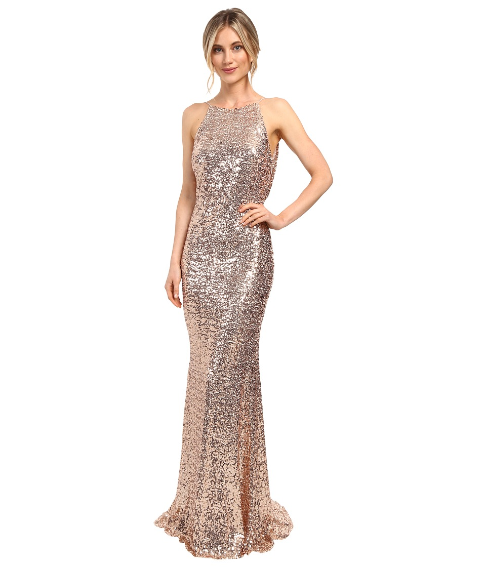 Badgley Mischka - Sequin Cowl Back Halter Gown (Blush) Women's Dress