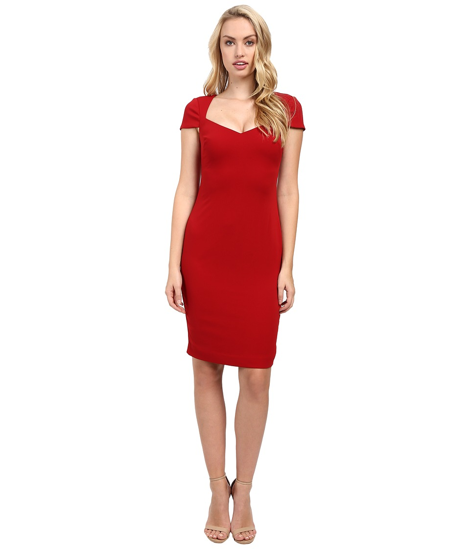 Badgley Mischka - Cap Sleeve Stretch Crepe Short Dress (Venetian Red) Women's Dress