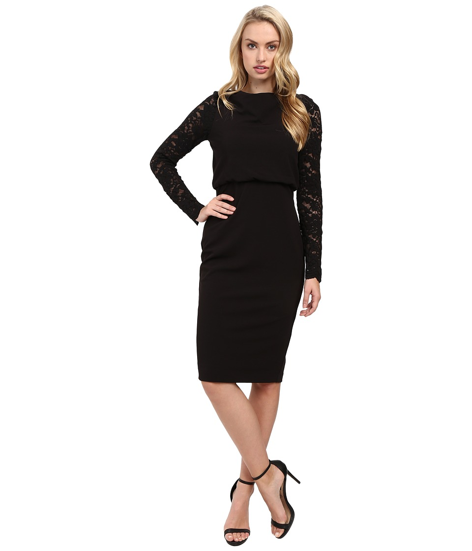 Badgley Mischka - Crepe Blouson with Lace Sleeve (Black) Women's Dress