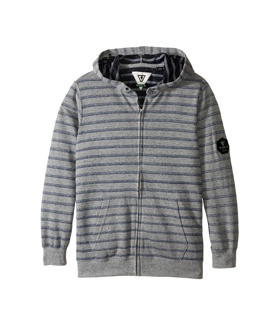 VISSLA Kids - Fine Point Fleece Zip Hoodie (Big Kids) (Grey Heather) Boy's Sweatshirt