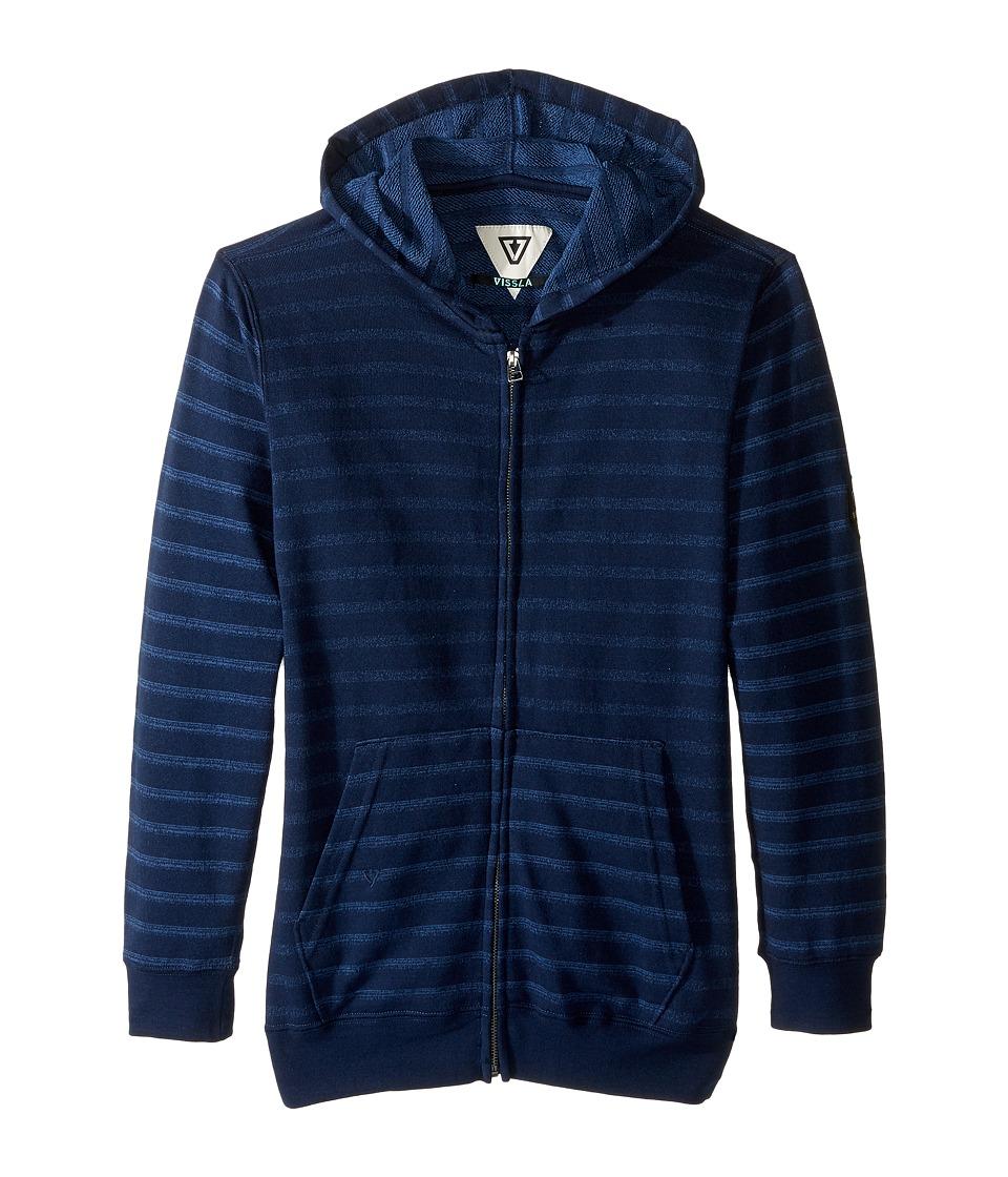 VISSLA Kids - Fine Point Fleece Zip Hoodie (Big Kids) (Dark Navy) Boy's Sweatshirt