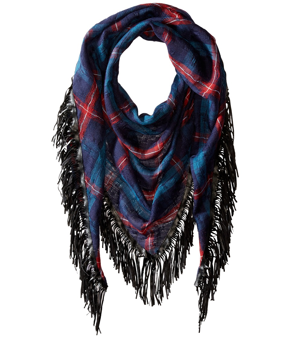 BCBGeneration - Oxford Check Triangle (Blue Depths) Scarves