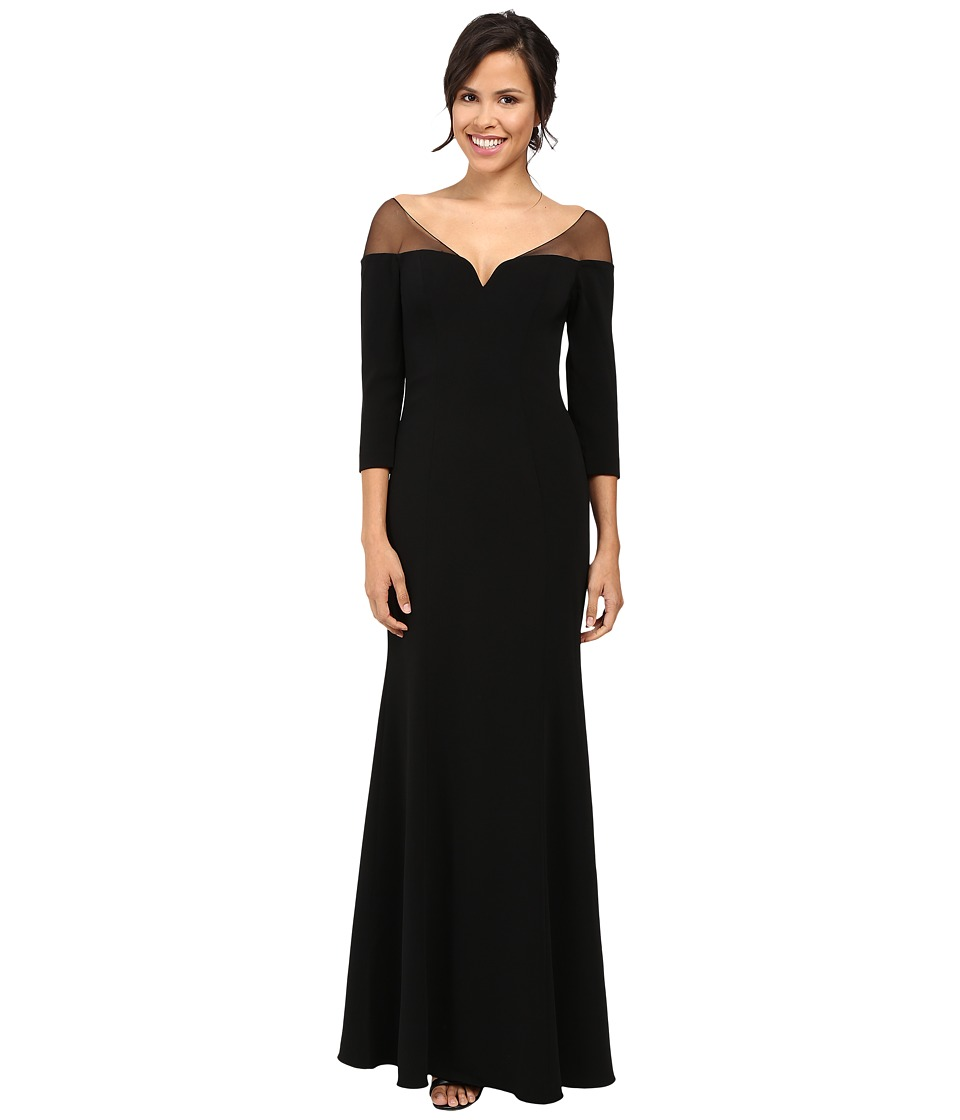 Badgley Mischka - Off the Shoulder Crepe Gown (Black) Women's Dress