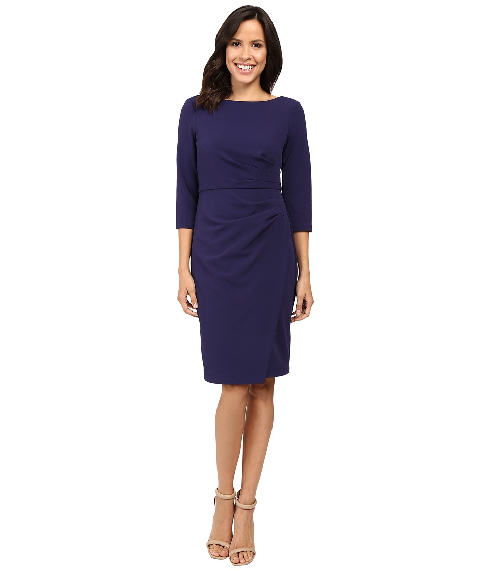Badgley Mischka - Faux Wrap Crepe Dress (Blueberry) Women's Dress