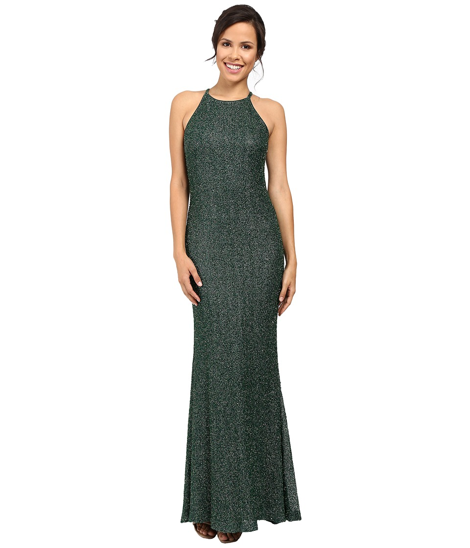 Badgley Mischka - All Over Beaded Halter Gown (Emerald) Women's Dress
