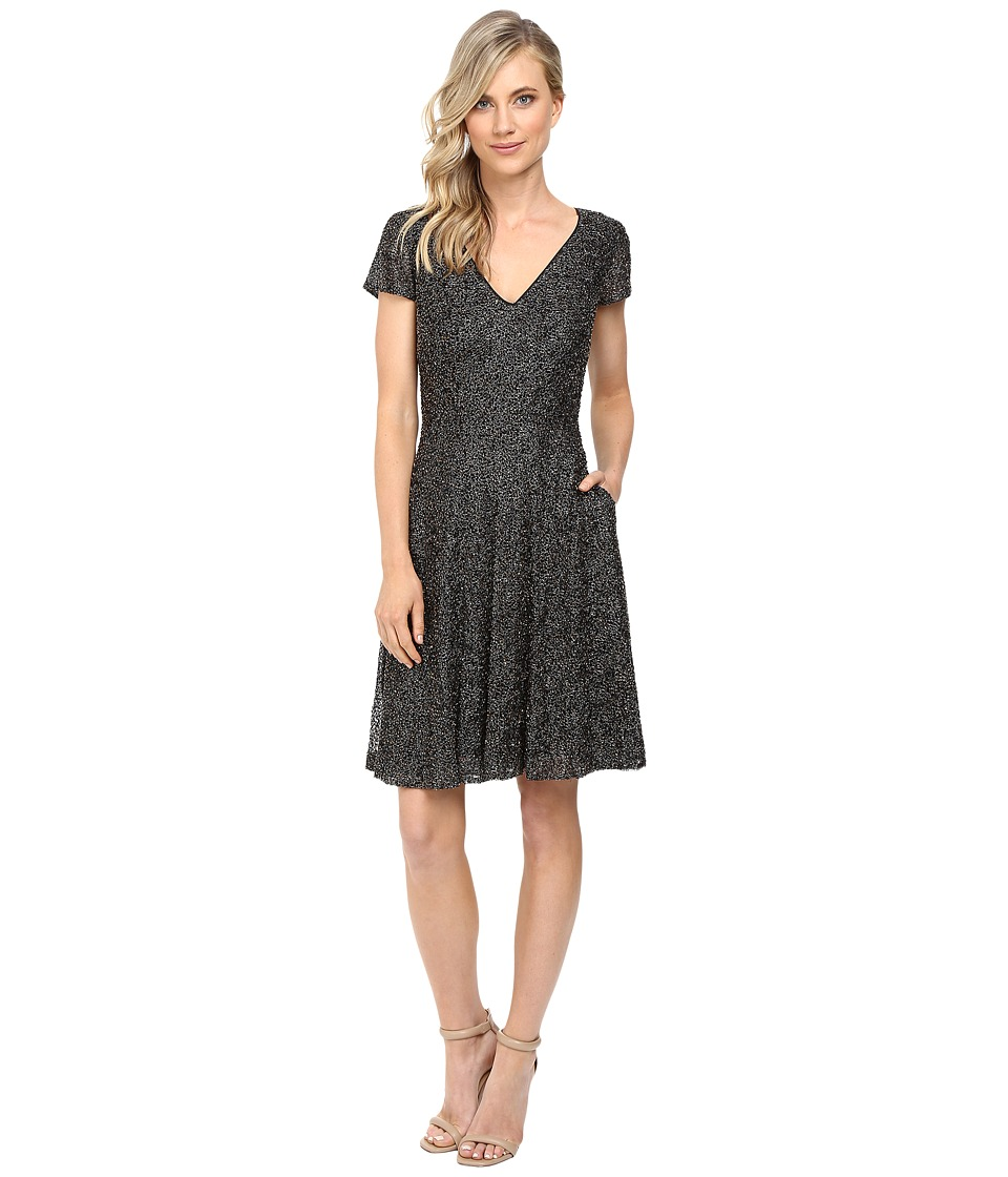 Badgley Mischka - All Over Beaded Fit and Flare with Pockets (Smoke) Women's Dress