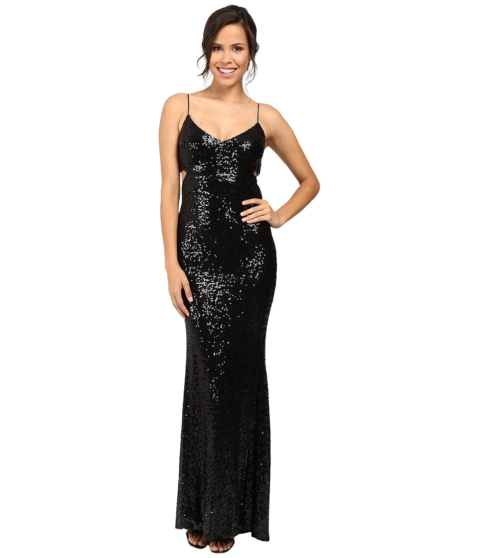 Badgley Mischka - Cut Out Sequin Gown (Black) Women's Dress