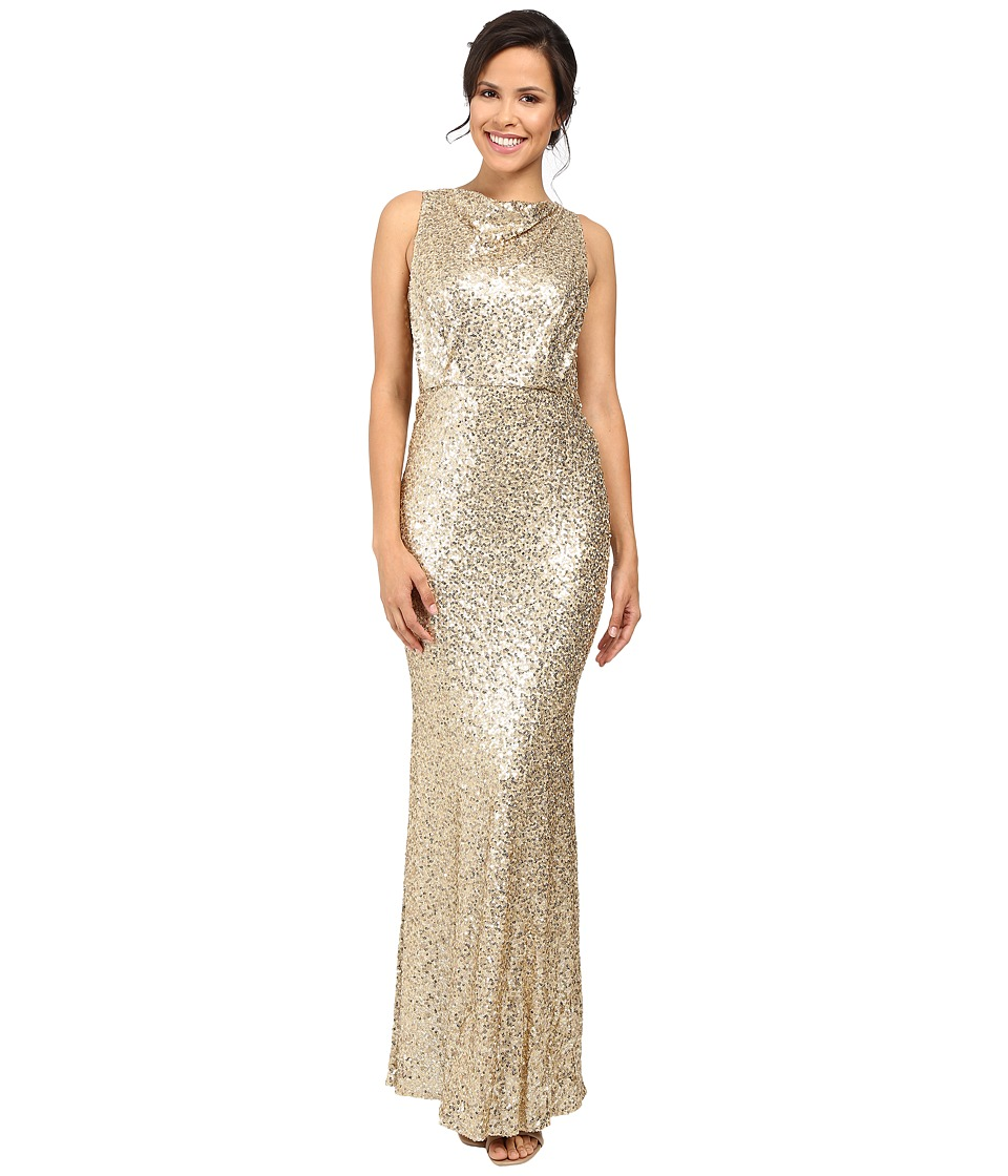 Badgley Mischka Sequin Blouson Gown (Champagne) Women